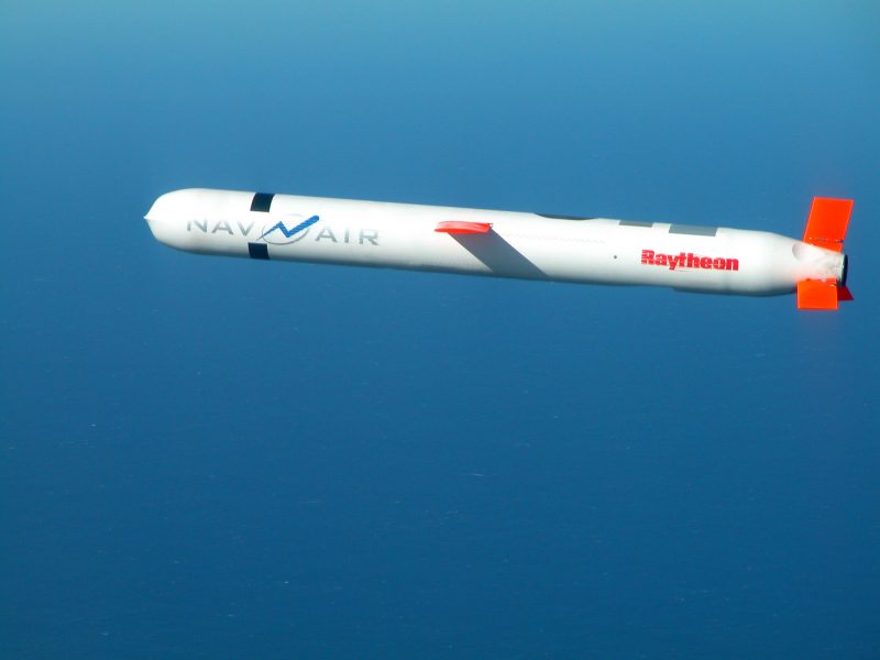 "021110-N-0000X-003 China Lake, Calif. (Nov. 10, 2002) -- A Tactical ""Tomahawk"" Block IV cruise missile, conducts a controlled flight test over the Naval Air Systems Command (NAVAIR) western test range complex in southern California. During the second such test flight, the missile successfully completed a vertical underwater launch, flew a fully guided 780-mile course, and impacted a designated target structure as planned. The Tactical Tomahawk, the next generation of Tomahawk cruise missile, adds the capability to reprogram the missile while in-flight to strike any of 15 preprogrammed alternate targets, or redirect the missile to any Global Positioning System (GPS) target coordinates. It also will be able to loiter over a target area for some hours, and with its on-board TV camera, will allow the war fighting commanders to assess battle damage of the target, and, if necessary redirect the missile to any other target. Launched from the Navy's forward-deployed ships and submarines, Tactical Tomahawk will provide a greater flexibility to the on-scene commander. Tactical Tomahawk is scheduled to join the fleet in 2004. U.S. Navy photo. (RELEASED)"